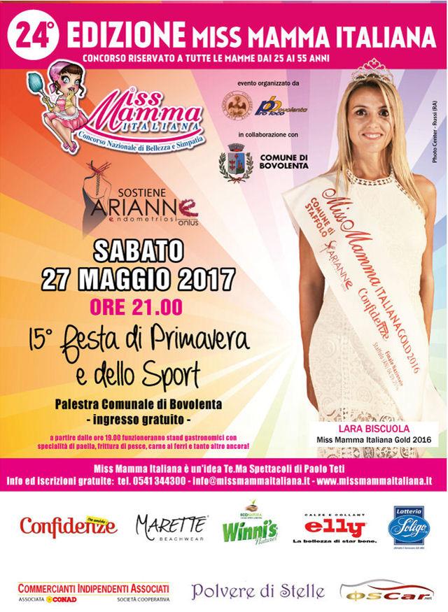 Locandina selezione Miss Mamma Italiana 2017 a Bovolenta Padova