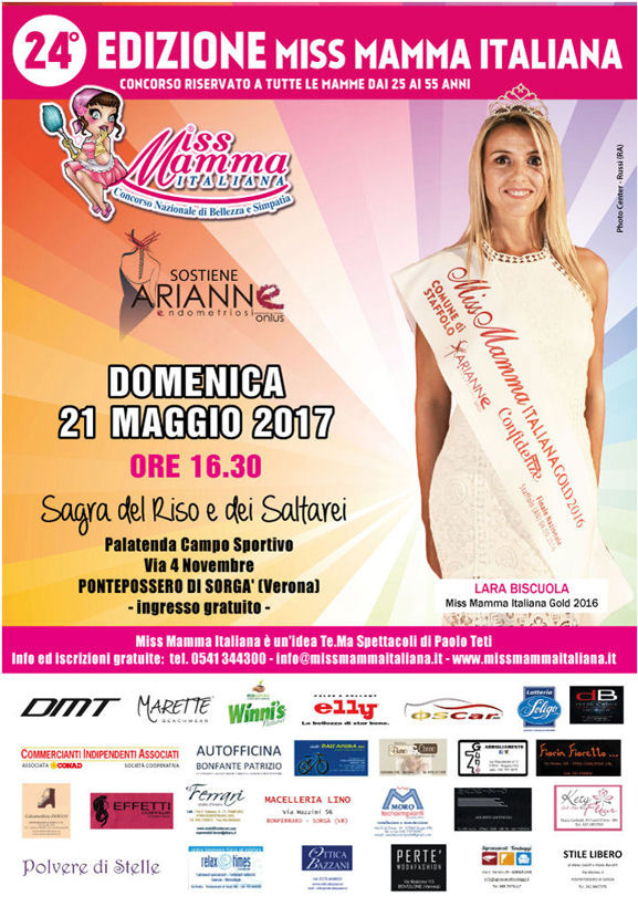 Locandina selezione Miss Mamma Italiana 2017 a Pontepossero di Sorgà Verona