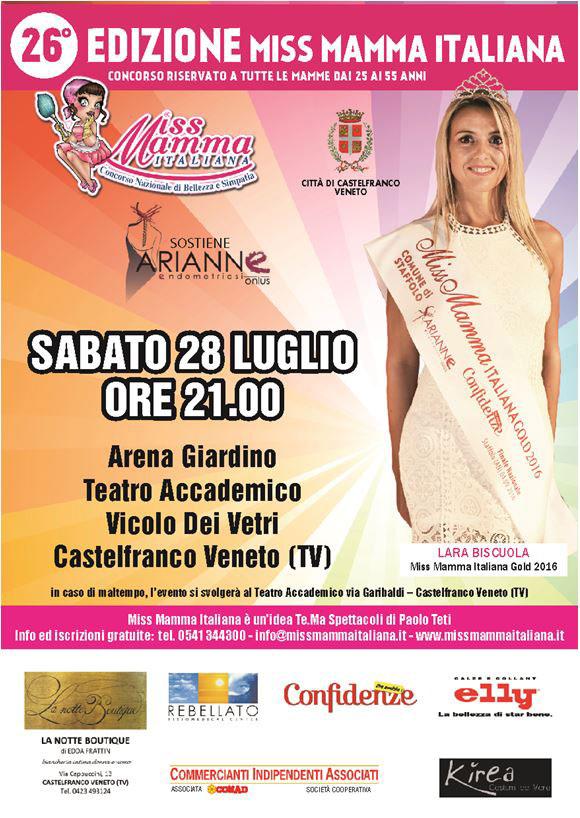 Locandina selezioni Miss Mamma italiana a Castelfranco Veneto