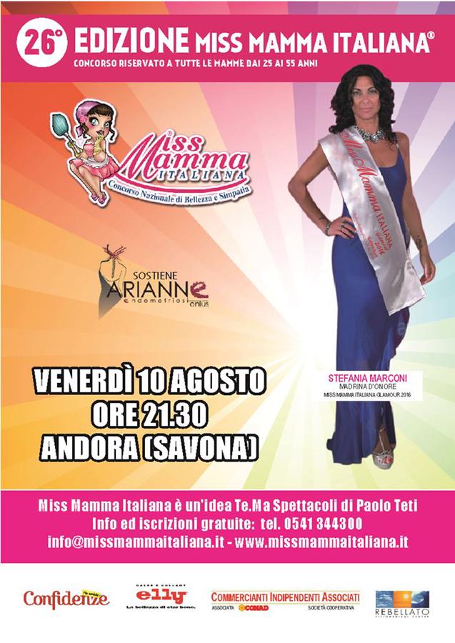 Locandina selezione Miss Mamma Italiana ad Andora
