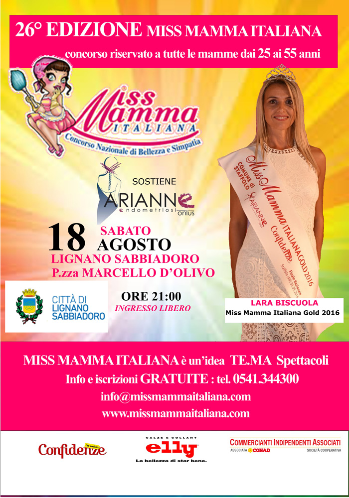 Locandina selezione Miss Mamma Italiana a Lignano Sabbiadoro