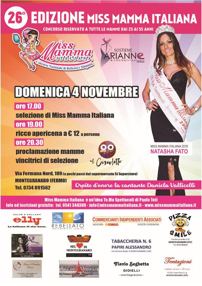 Locandina Miss Mamma Italiana selezione Montegranaro