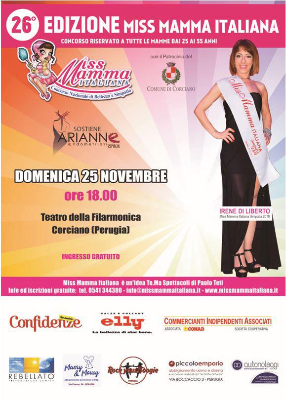 Locandina selezioni Miss Mamma Italiana a Corciano