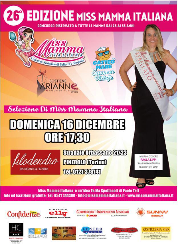 Locandina Selezioni Miss Mamma Italiana a Pinerolo