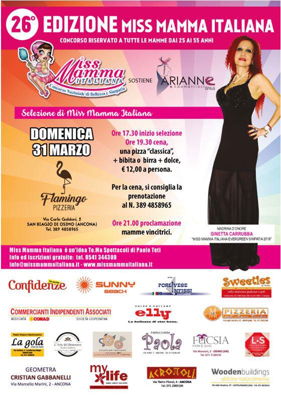 Locandina selezione Miss Mamma Italiana 2019 a San Biagio di Osimo