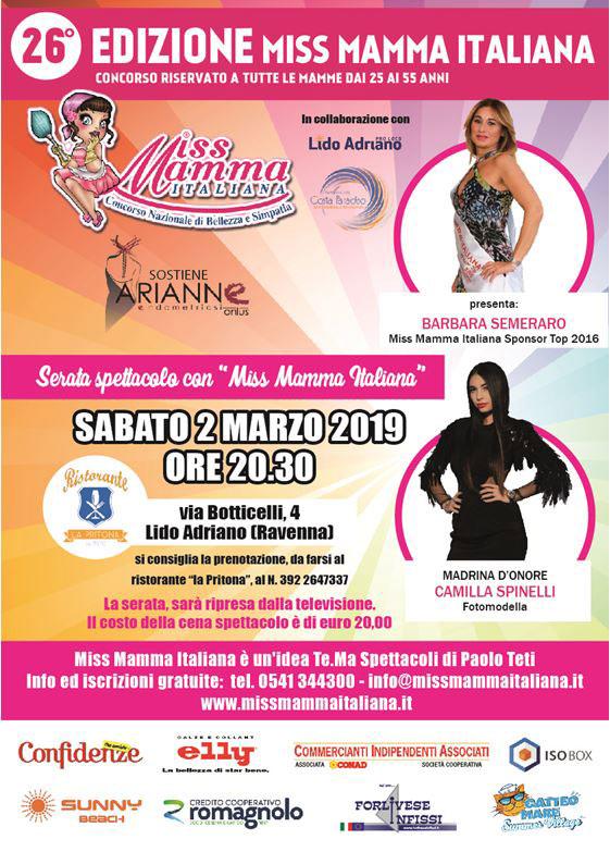 Locandina selezione Miss Mamma Italiana a Lido Adriano