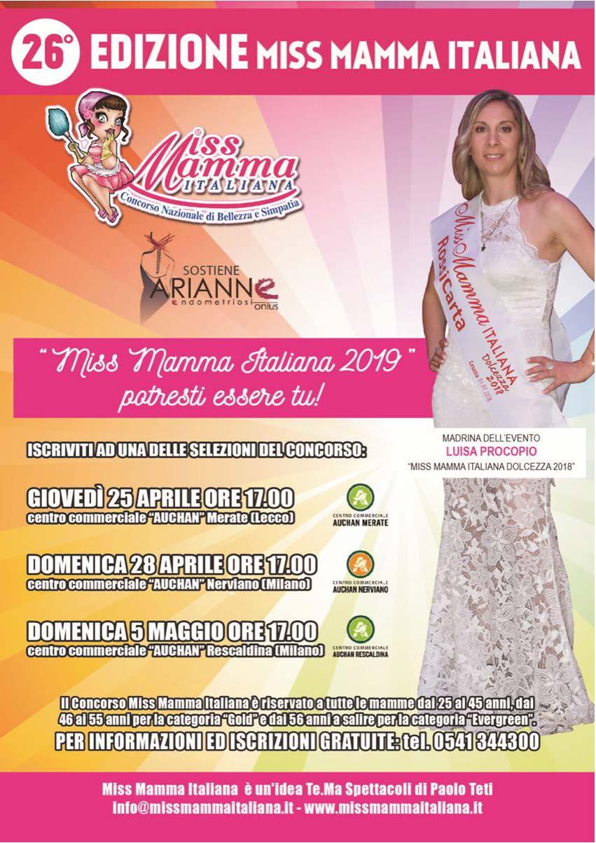 Locandina selezioni Miss Mamma Italiana 2019 a Merate, Nerviano e Rescaldina