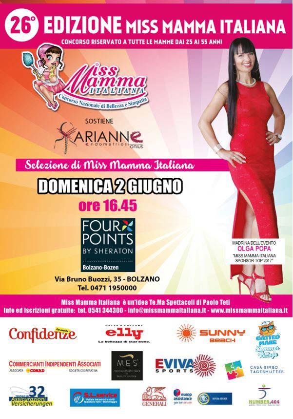 Locandina selezione Miss Mamma Italiana 2019 a Bolzano