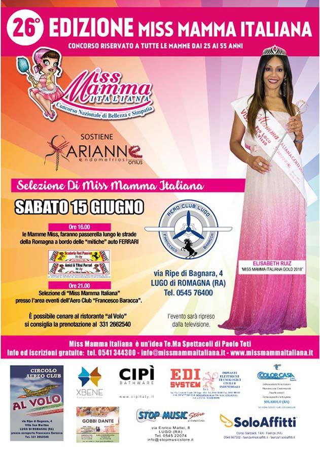 Locandina selezione Miss Mamma Italiana 2019 a Lugo