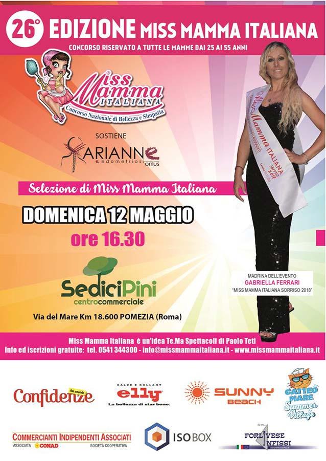 Locandina selezione Miss Mamma Italiana 2019 a Pomezia