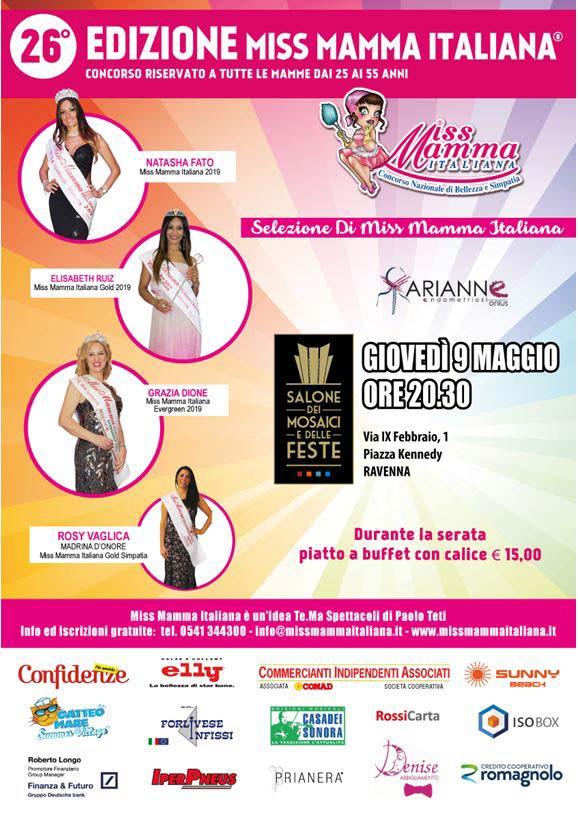 Locandina selezione Miss Mamma Italiana 2019 a Ravenna