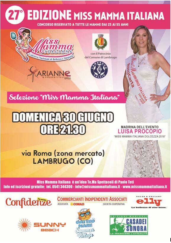 Locandina selezione Miss Mamma Italiana 2020 a Lambrugo