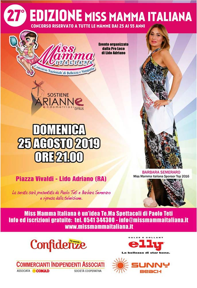 Locandina selezione Miss Mamma Italiana 2020 a Lido Adriano (Ravenna)