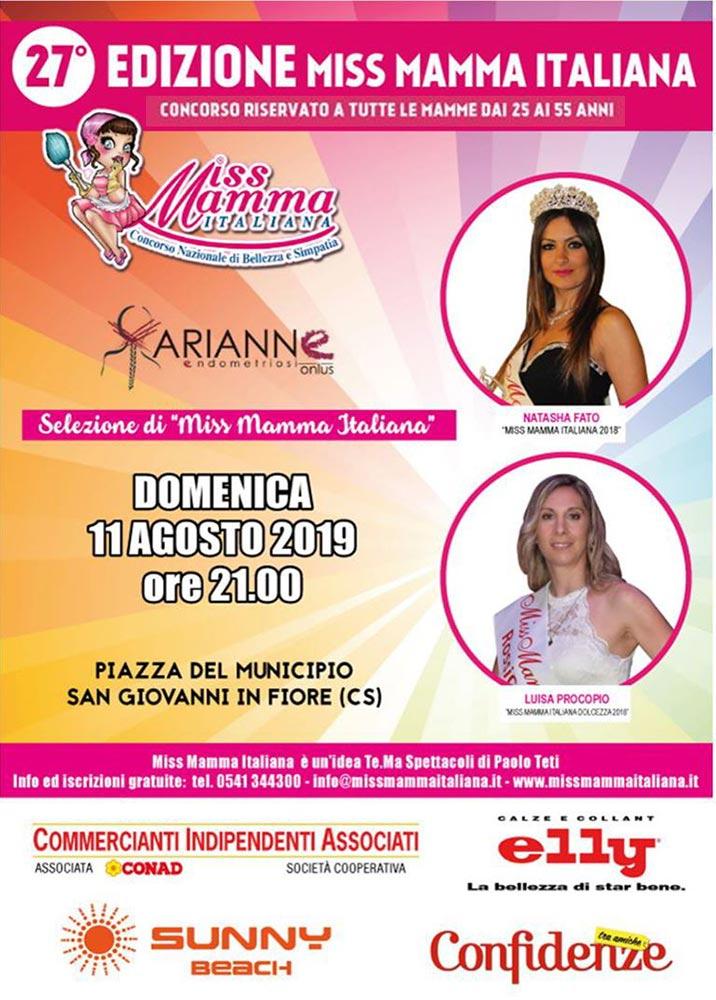 Locandina selezione Miss Mamma Italiana 2020 a San Giovanni in Fiore (Cosenza)