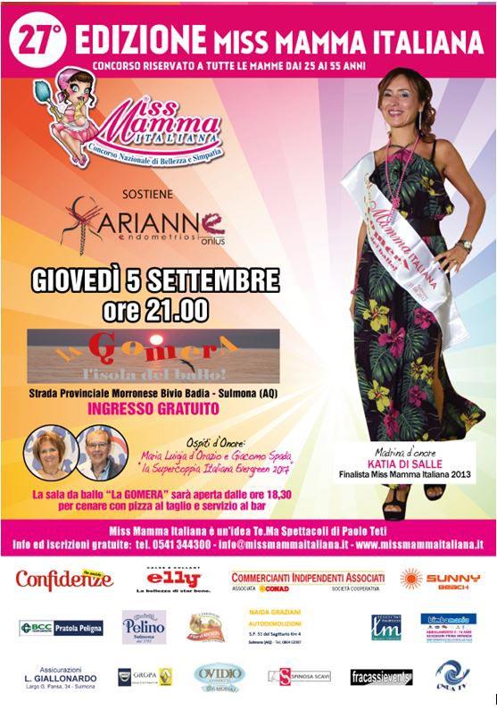 Locandina selezione Miss Mamma Italiana 2020 a Sulmon (Aquila)