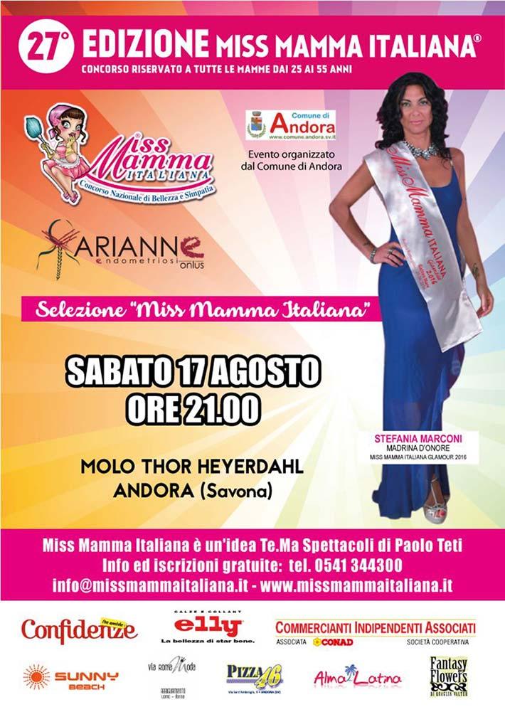 Locandina selezione Miss Mamma Italiana 2020 ad Andora (Savona)