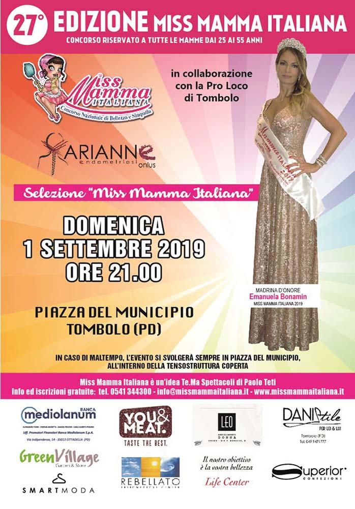 Locandina selezione Miss Mamma Italiana a Tombolo (Padova)