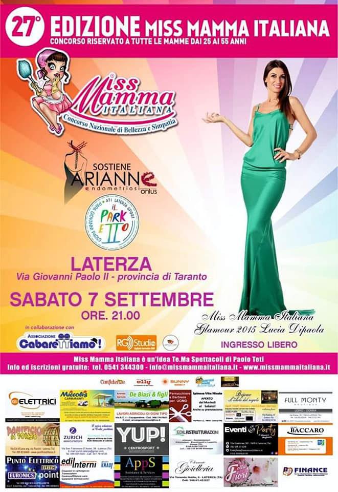 Locandina selezione Miss Mamma Italiana 2019 a Laterza