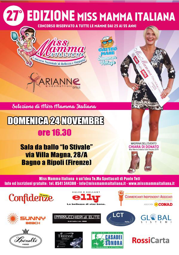 Locandina selezione Miss Mamma Italiana 2020 a Firenze