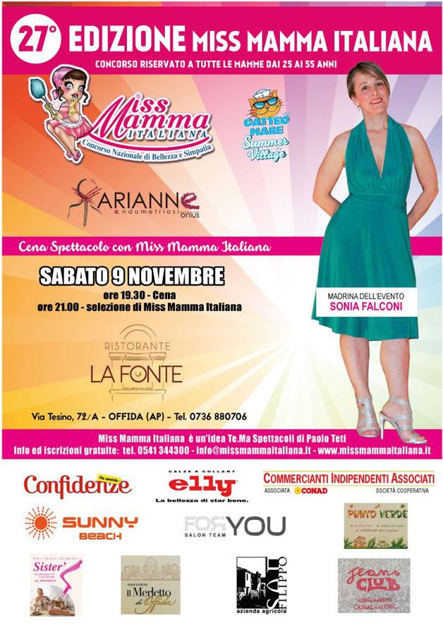 Locandina selezione Miss Mamma Italiana 2020 a Offida