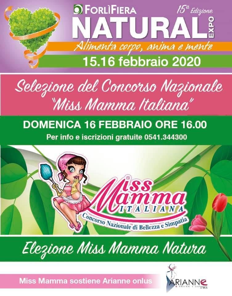 Locandina selezione Miss Mamma Italiana 2020 al Natural Expo di Forli