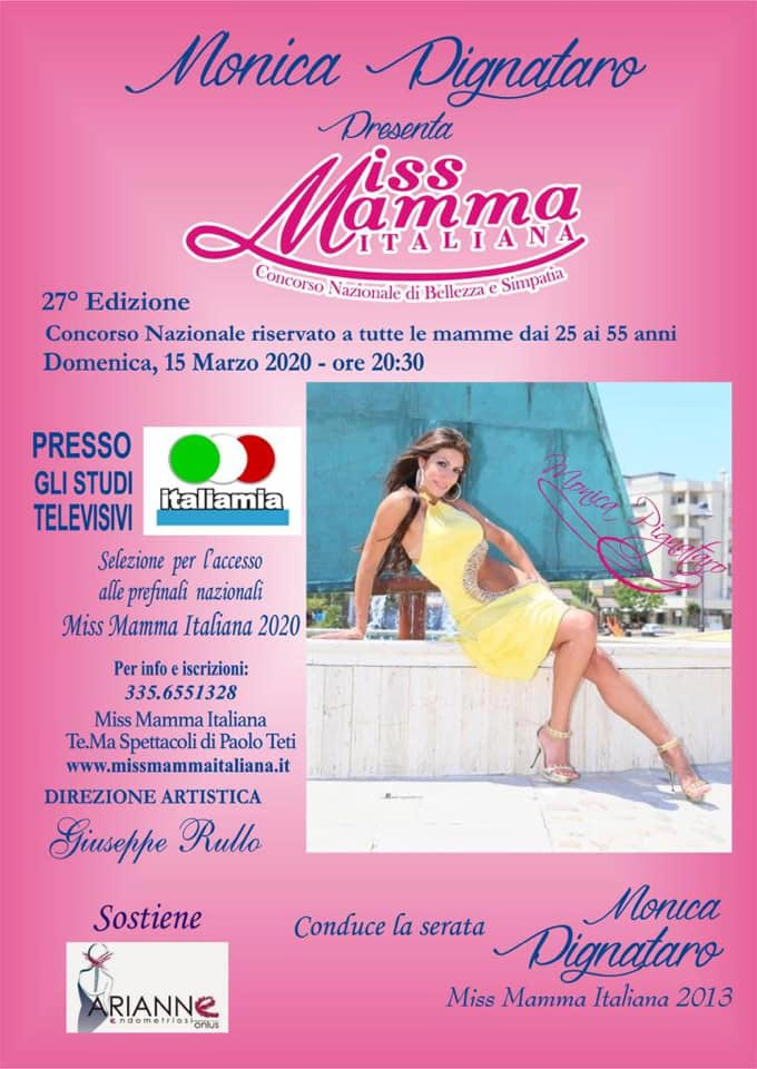 Locandina selezione Miss Mamma Italiana 2020 a Marcianise