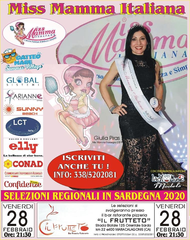 Locandina selezione Miss Mamma Italiana 2020 a Miracalagonis