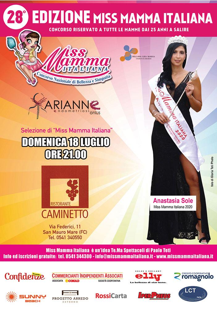 Locandina selezioni Miss Mamma Italiana 2021 a San Mauro Mare FC