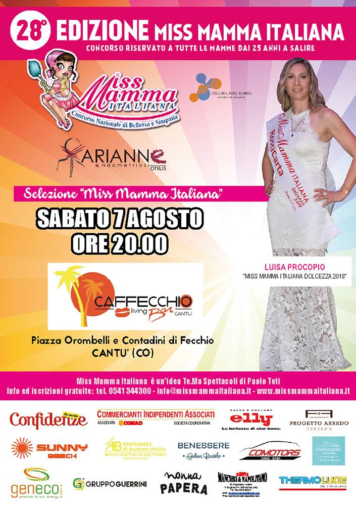 Locandina selezione Cantù Miss Mamma Italiana 2021
