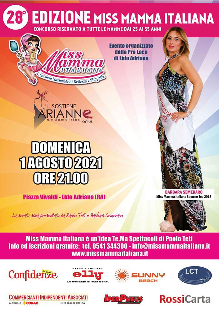 Locandina selezioni Miss Mamma Italiana 2021 a Lido Adriano RA